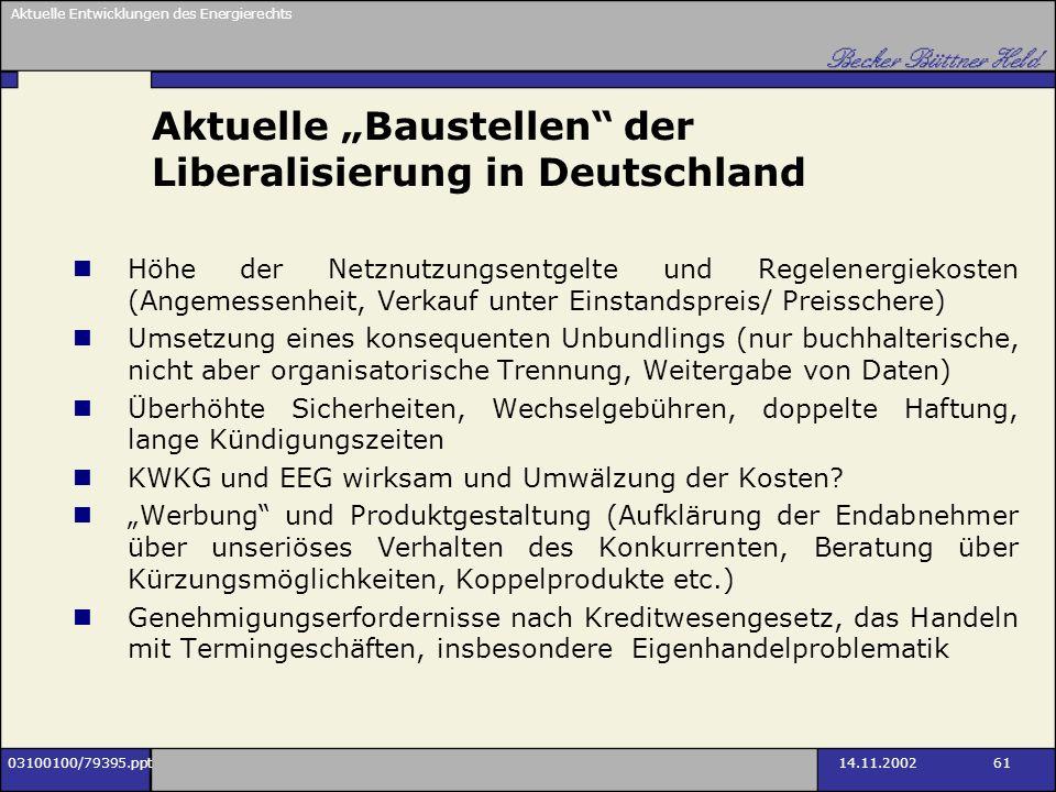 Aktuelle Entwicklungen des Energierechts 03100100/79395.ppt14.11.2002 61 Aktuelle Baustellen der Liberalisierung in Deutschland Höhe der Netznutzungse