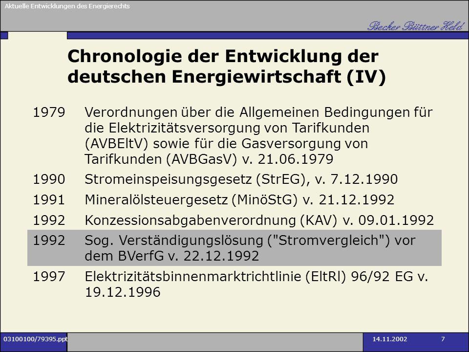 Aktuelle Entwicklungen des Energierechts 03100100/79395.ppt14.11.2002 48 Netzanschlussvertrag Erstellung und Erweiterung des Netzanschlusses bedürfen einer vertraglichen Regelung (AVBEltV oder Sondervertrag) VV II spricht diesen Vertrag ausdrücklich an, enthält jedoch materiell keine Neuerung Kündigung des bisherigen Lieferverhältnisses lässt die rechtlichen Grundlagen des Anschlusses grds.