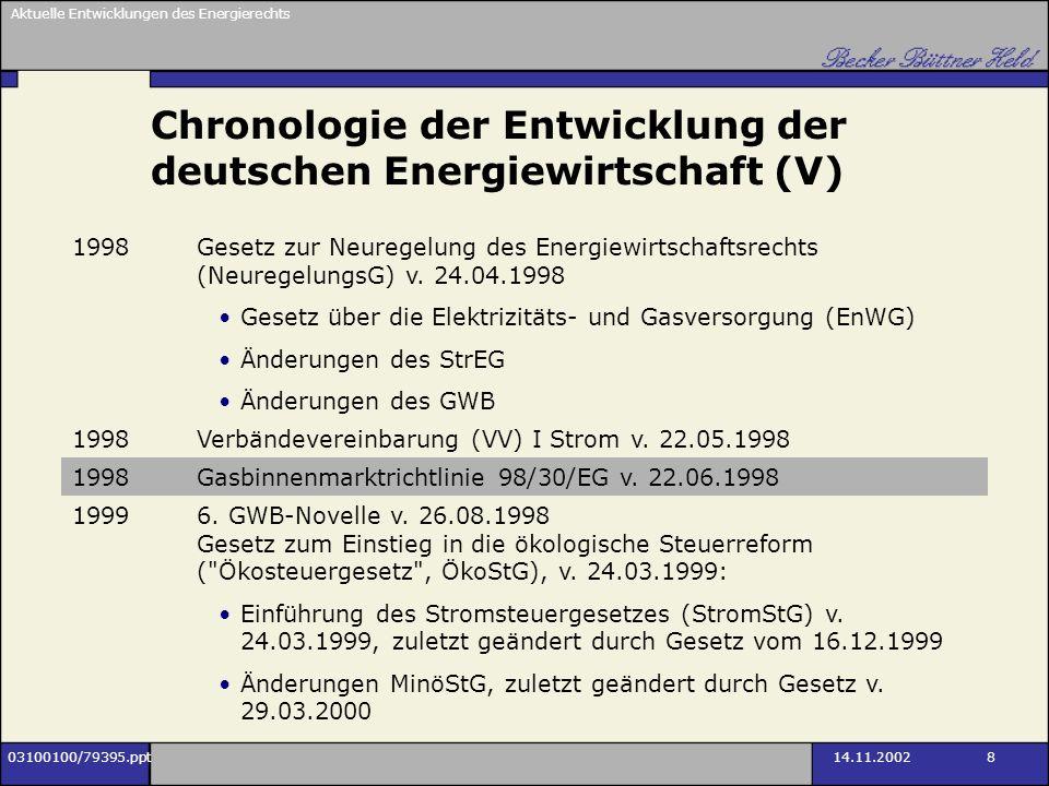 Aktuelle Entwicklungen des Energierechts 03100100/79395.ppt14.11.2002 8 Chronologie der Entwicklung der deutschen Energiewirtschaft (V) 1998Gesetz zur