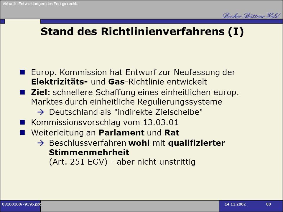 Aktuelle Entwicklungen des Energierechts 03100100/79395.ppt14.11.2002 80 Stand des Richtlinienverfahrens (I) Europ. Kommission hat Entwurf zur Neufass