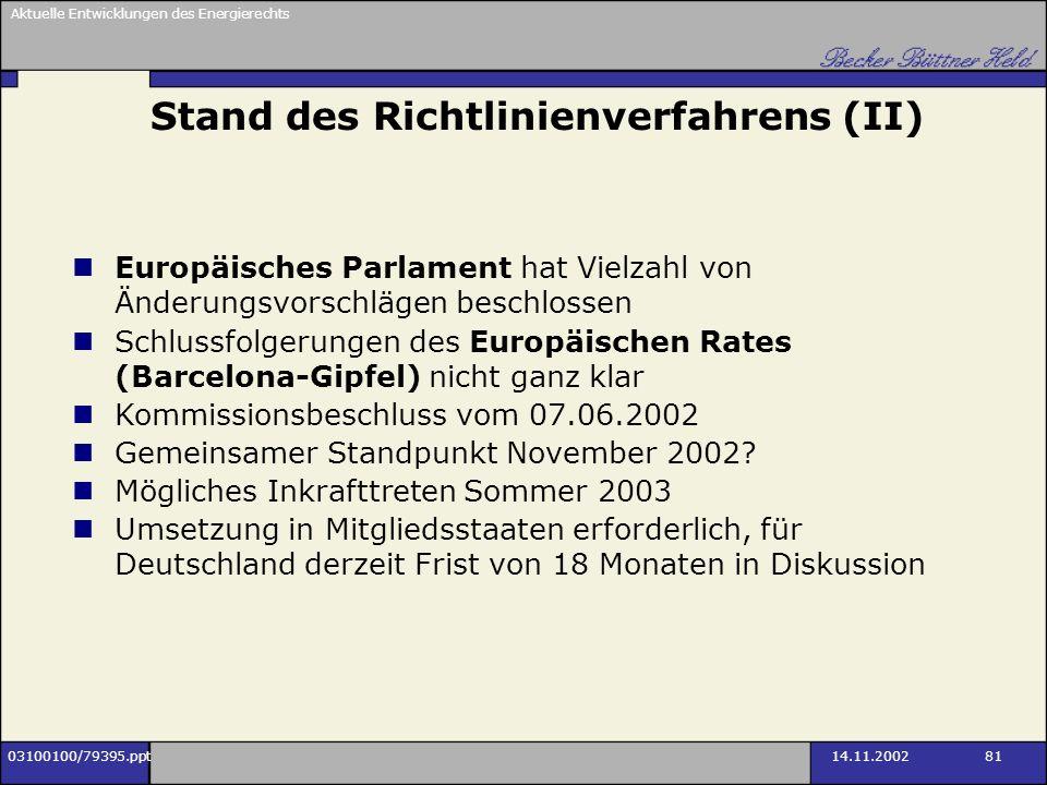 Aktuelle Entwicklungen des Energierechts 03100100/79395.ppt14.11.2002 81 Stand des Richtlinienverfahrens (II) Europäisches Parlament hat Vielzahl von