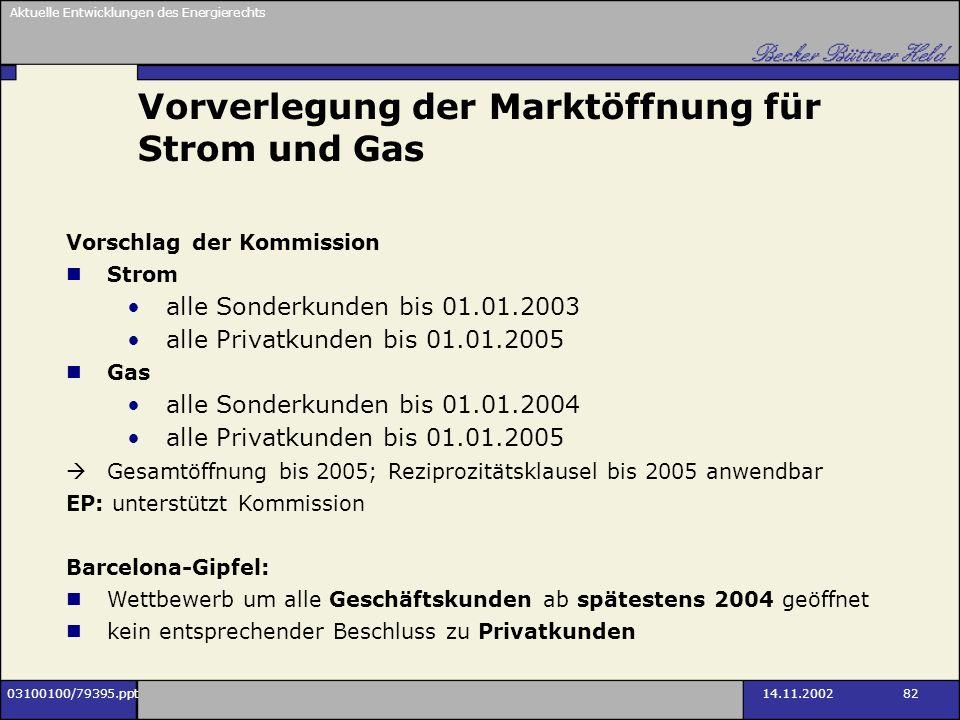 Aktuelle Entwicklungen des Energierechts 03100100/79395.ppt14.11.2002 82 Vorverlegung der Marktöffnung für Strom und Gas Vorschlag der Kommission Stro