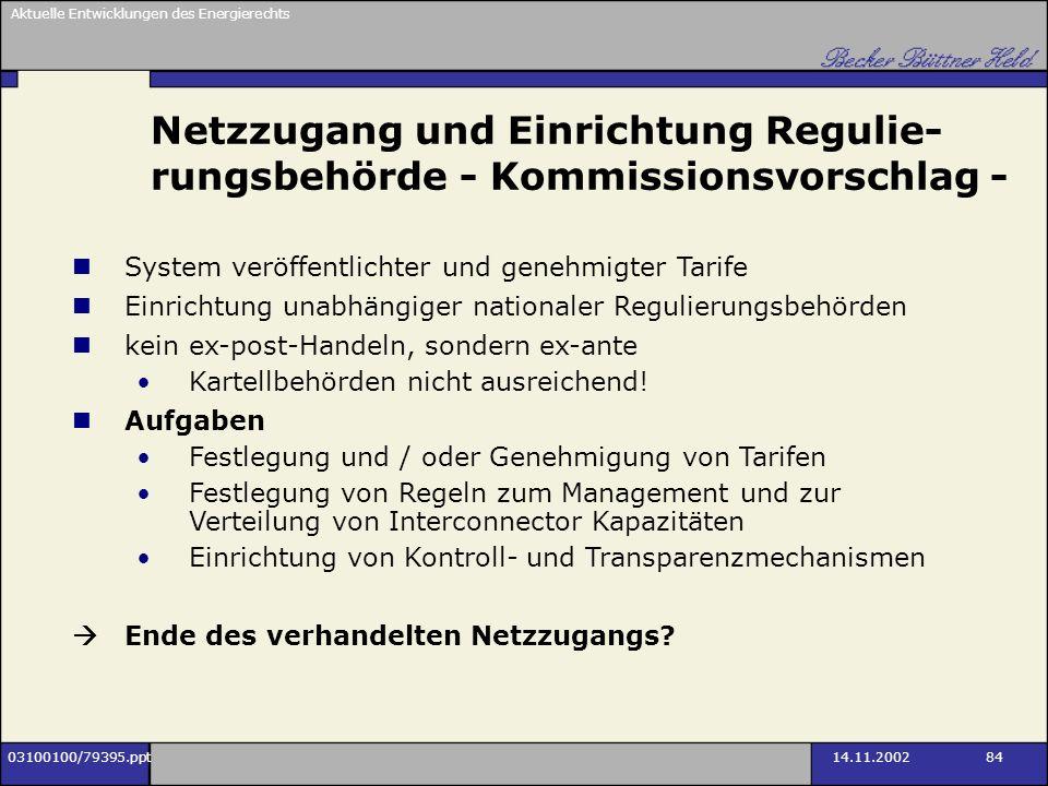 Aktuelle Entwicklungen des Energierechts 03100100/79395.ppt14.11.2002 84 Netzzugang und Einrichtung Regulie- rungsbehörde - Kommissionsvorschlag - Sys