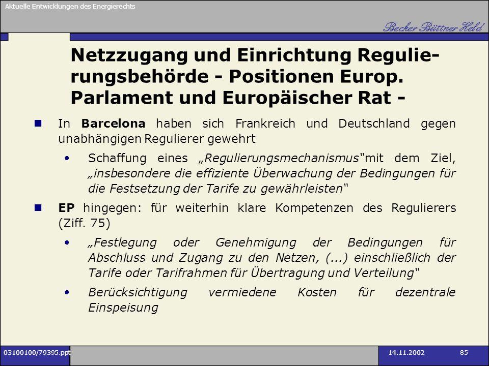 Aktuelle Entwicklungen des Energierechts 03100100/79395.ppt14.11.2002 85 Netzzugang und Einrichtung Regulie- rungsbehörde - Positionen Europ. Parlamen