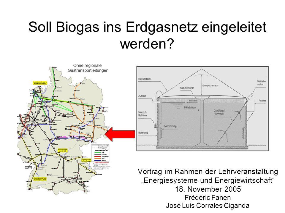 Soll Biogas ins Erdgasnetz eingeleitet werden? Vortrag im Rahmen der Lehrveranstaltung Energiesysteme und Energiewirtschaft 18. November 2005 Frédéric