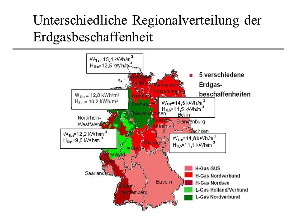 Unterschiedliche Regionalverteilung der Erdgasbeschaffenheit