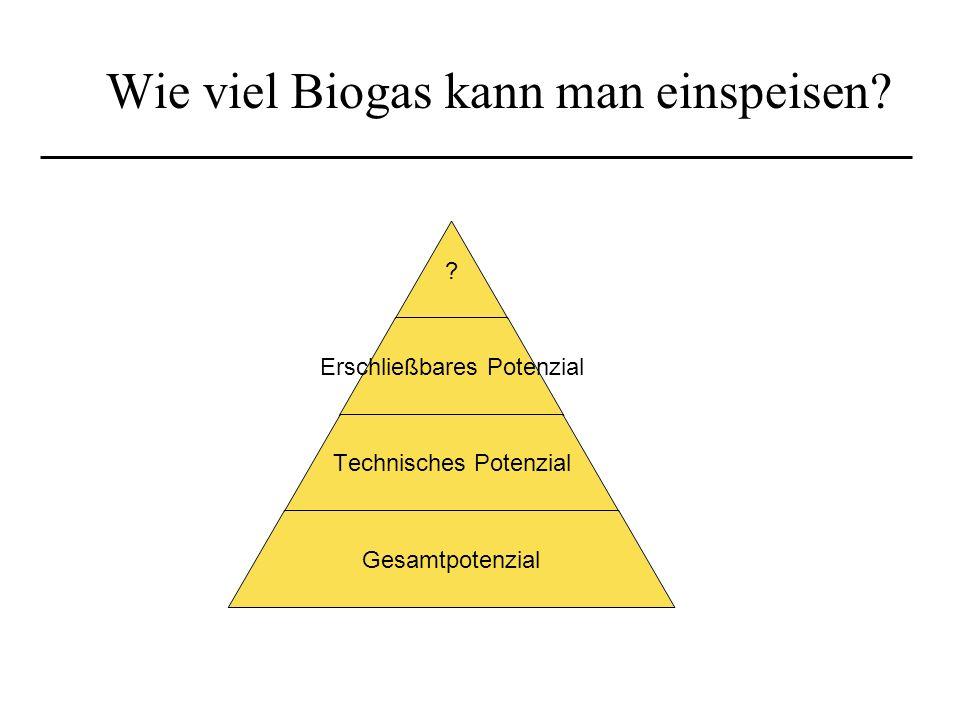 Wie viel Biogas kann man einspeisen? ? Erschließbares Potenzial Technisches Potenzial Gesamtpotenzial
