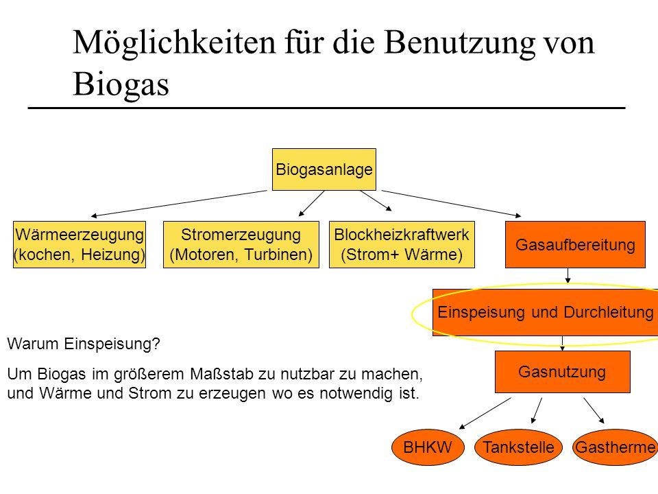 Möglichkeiten für die Benutzung von Biogas Warum Einspeisung? Um Biogas im größerem Maßstab zu nutzbar zu machen, und Wärme und Strom zu erzeugen wo e