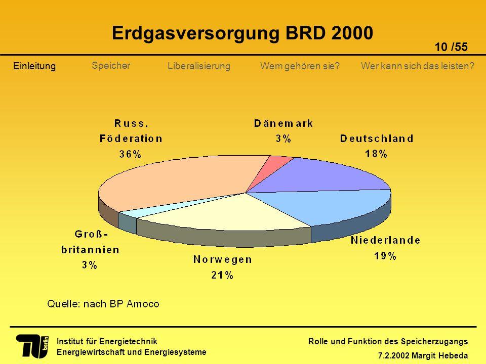 Rolle und Funktion des Speicherzugangs 7.2.2002 Margit Hebeda 10 /55 Institut für Energietechnik Energiewirtschaft und Energiesysteme Einleitung Liber