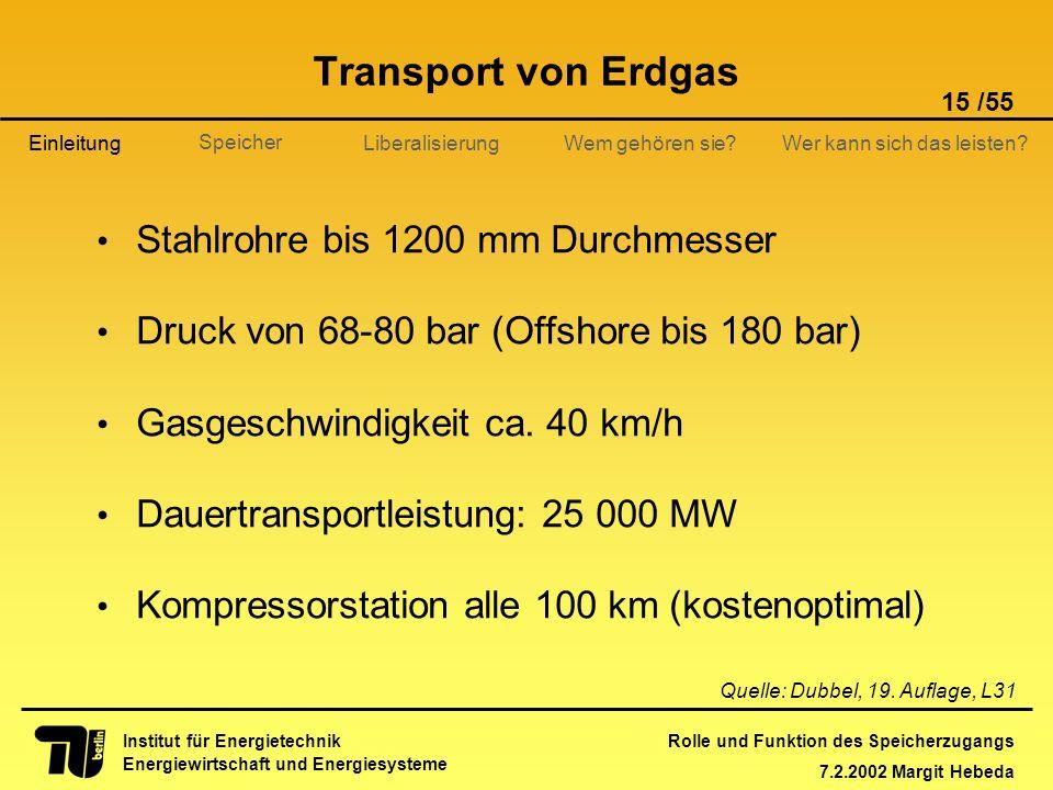 Rolle und Funktion des Speicherzugangs 7.2.2002 Margit Hebeda 15 /55 Institut für Energietechnik Energiewirtschaft und Energiesysteme Einleitung Liber