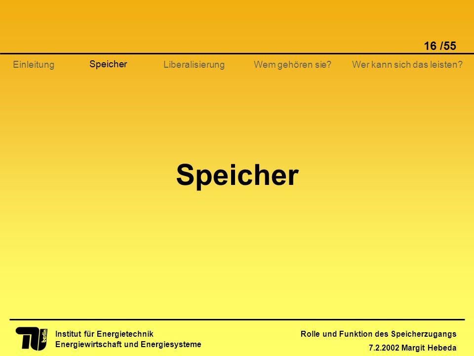 Rolle und Funktion des Speicherzugangs 7.2.2002 Margit Hebeda 16 /55 Institut für Energietechnik Energiewirtschaft und Energiesysteme Einleitung Liber