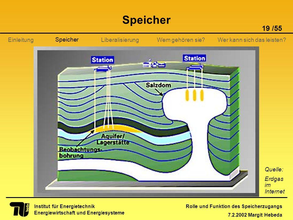 Rolle und Funktion des Speicherzugangs 7.2.2002 Margit Hebeda 19 /55 Institut für Energietechnik Energiewirtschaft und Energiesysteme Einleitung Liber