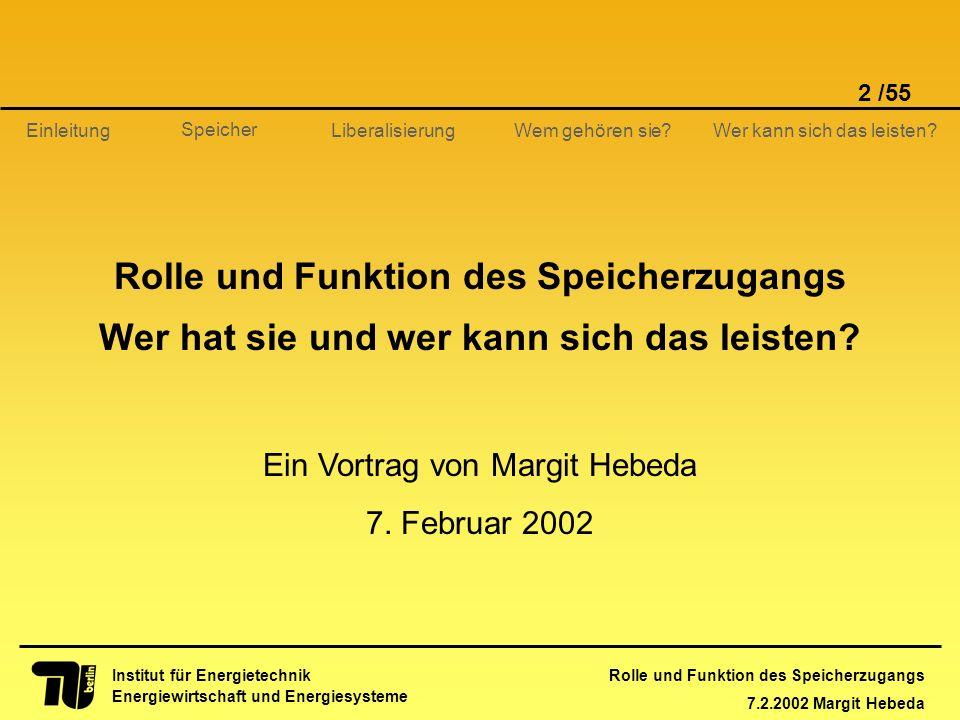 Rolle und Funktion des Speicherzugangs 7.2.2002 Margit Hebeda 2 /55 Institut für Energietechnik Energiewirtschaft und Energiesysteme Einleitung Libera