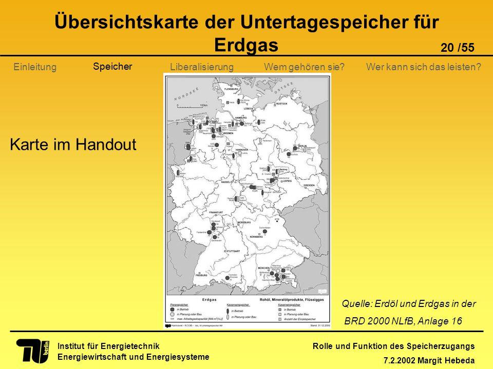 Rolle und Funktion des Speicherzugangs 7.2.2002 Margit Hebeda 20 /55 Institut für Energietechnik Energiewirtschaft und Energiesysteme Einleitung Liber