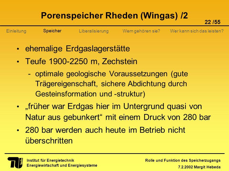 Rolle und Funktion des Speicherzugangs 7.2.2002 Margit Hebeda 22 /55 Institut für Energietechnik Energiewirtschaft und Energiesysteme Einleitung Liber