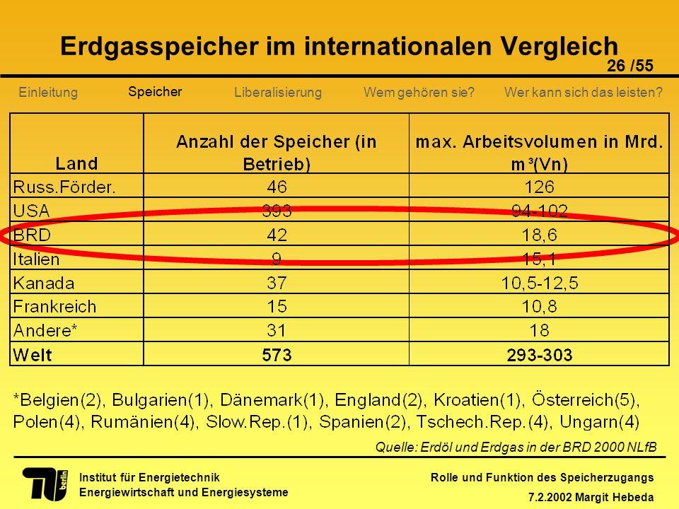 Rolle und Funktion des Speicherzugangs 7.2.2002 Margit Hebeda 26 /55 Institut für Energietechnik Energiewirtschaft und Energiesysteme Einleitung Liber