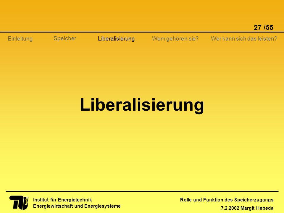 Rolle und Funktion des Speicherzugangs 7.2.2002 Margit Hebeda 27 /55 Institut für Energietechnik Energiewirtschaft und Energiesysteme Einleitung Liber