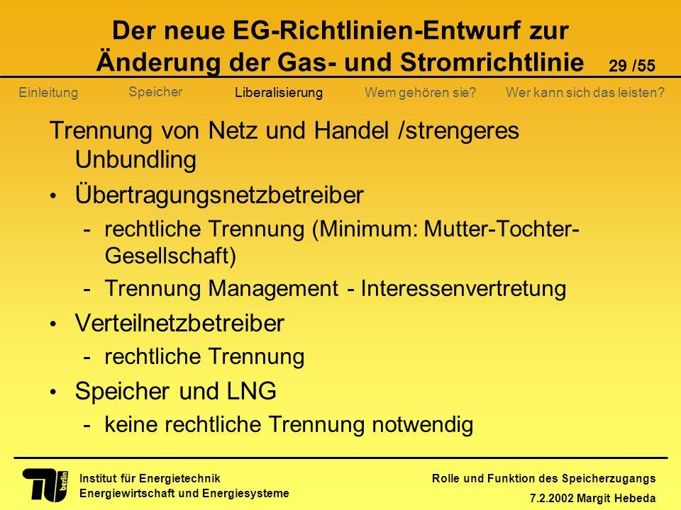 Rolle und Funktion des Speicherzugangs 7.2.2002 Margit Hebeda 29 /55 Institut für Energietechnik Energiewirtschaft und Energiesysteme Einleitung Liber