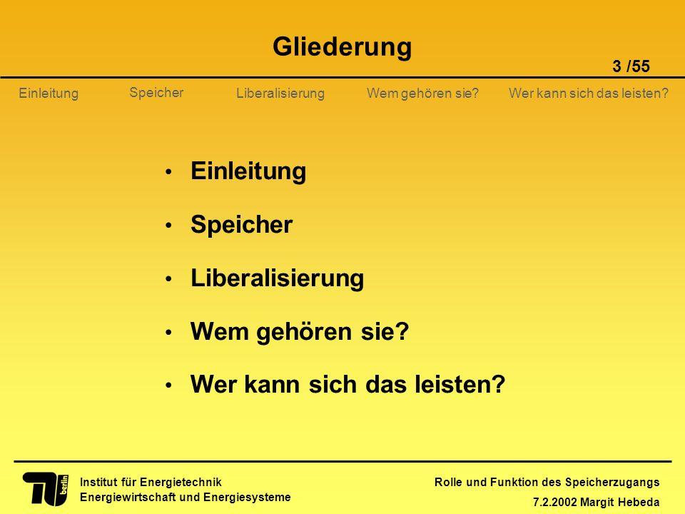 Rolle und Funktion des Speicherzugangs 7.2.2002 Margit Hebeda 3 /55 Institut für Energietechnik Energiewirtschaft und Energiesysteme Einleitung Libera