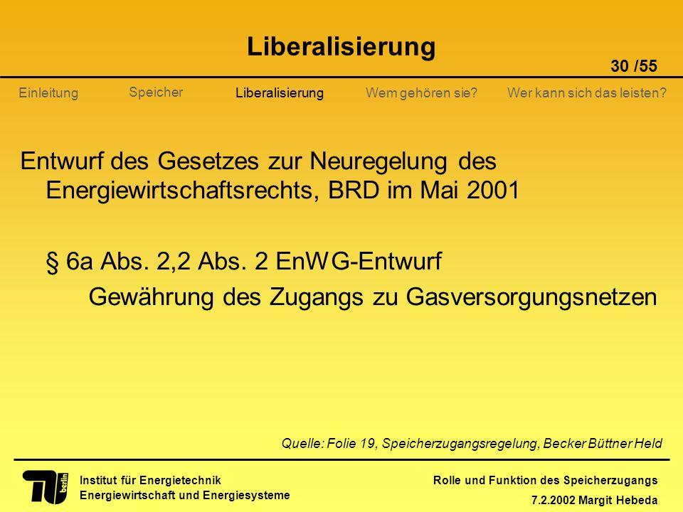Rolle und Funktion des Speicherzugangs 7.2.2002 Margit Hebeda 30 /55 Institut für Energietechnik Energiewirtschaft und Energiesysteme Einleitung Liber