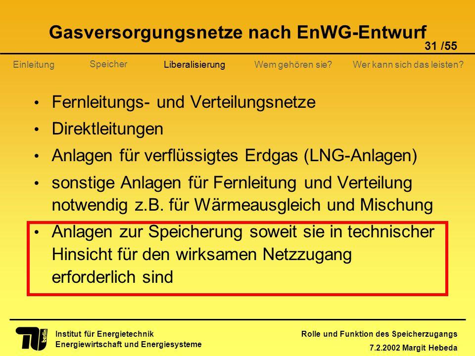 Rolle und Funktion des Speicherzugangs 7.2.2002 Margit Hebeda 31 /55 Institut für Energietechnik Energiewirtschaft und Energiesysteme Einleitung Liber