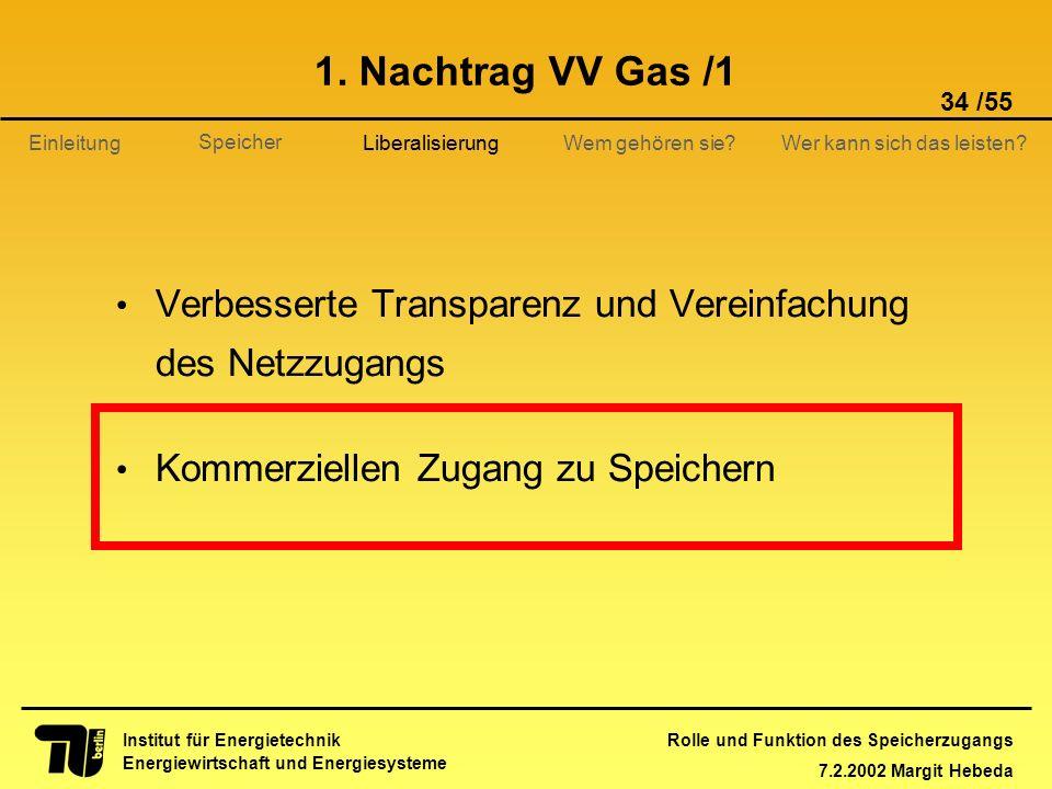 Rolle und Funktion des Speicherzugangs 7.2.2002 Margit Hebeda 34 /55 Institut für Energietechnik Energiewirtschaft und Energiesysteme Einleitung Liber