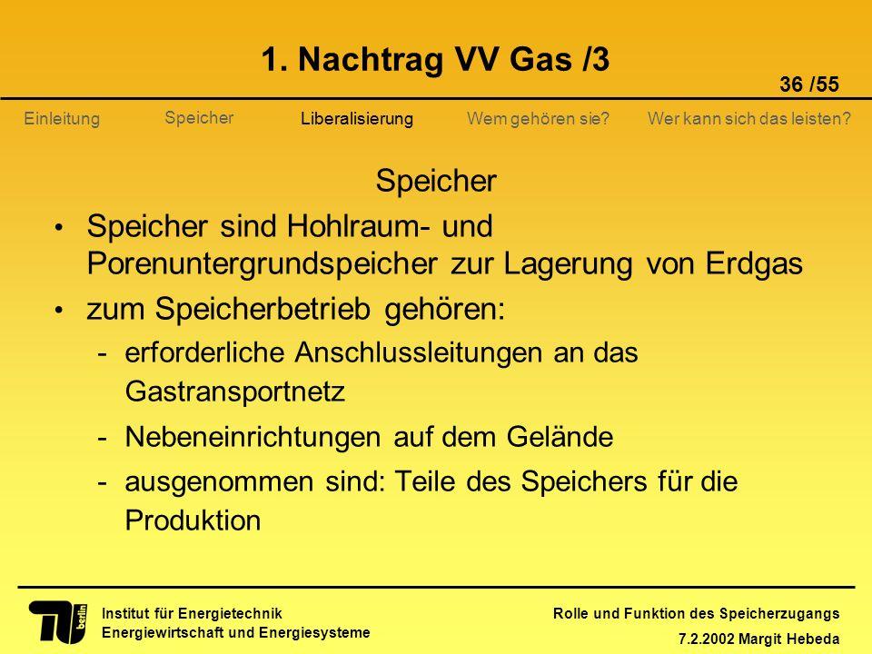 Rolle und Funktion des Speicherzugangs 7.2.2002 Margit Hebeda 36 /55 Institut für Energietechnik Energiewirtschaft und Energiesysteme Einleitung Liber