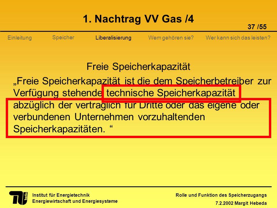 Rolle und Funktion des Speicherzugangs 7.2.2002 Margit Hebeda 37 /55 Institut für Energietechnik Energiewirtschaft und Energiesysteme Einleitung Liber