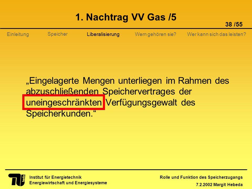 Rolle und Funktion des Speicherzugangs 7.2.2002 Margit Hebeda 38 /55 Institut für Energietechnik Energiewirtschaft und Energiesysteme Einleitung Liber