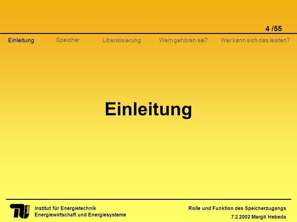 Rolle und Funktion des Speicherzugangs 7.2.2002 Margit Hebeda 4 /55 Institut für Energietechnik Energiewirtschaft und Energiesysteme Einleitung Libera