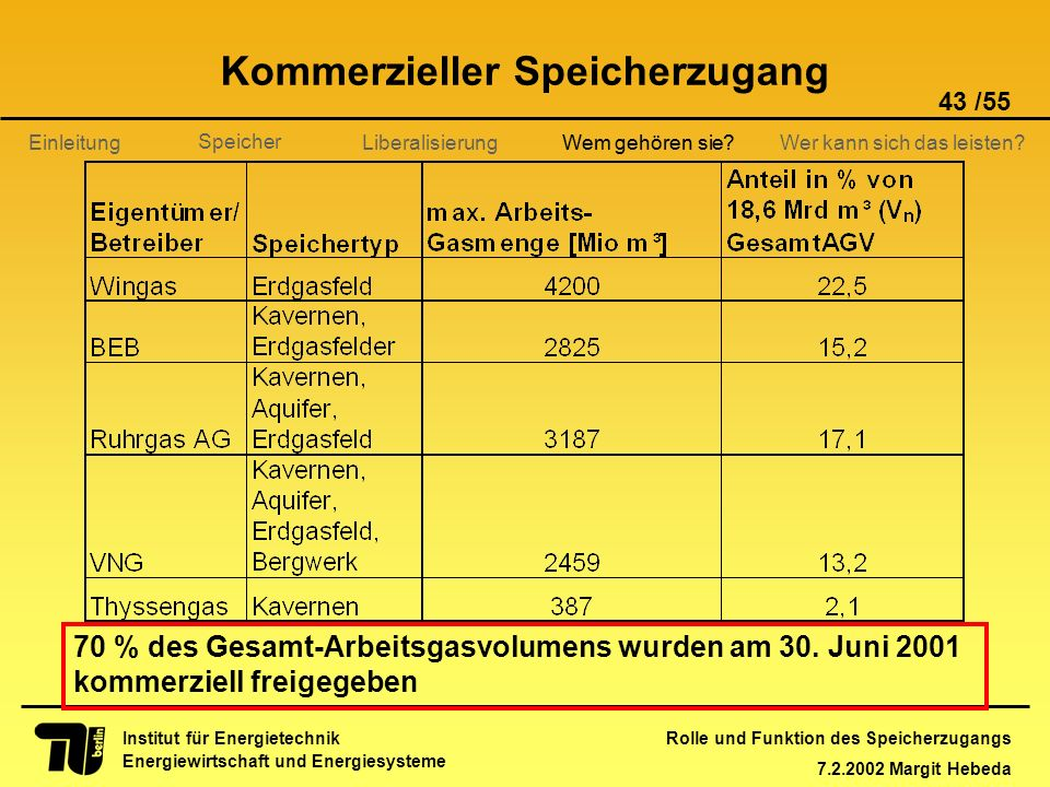 Rolle und Funktion des Speicherzugangs 7.2.2002 Margit Hebeda 43 /55 Institut für Energietechnik Energiewirtschaft und Energiesysteme Einleitung Liber