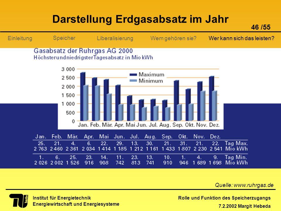 Rolle und Funktion des Speicherzugangs 7.2.2002 Margit Hebeda 46 /55 Institut für Energietechnik Energiewirtschaft und Energiesysteme Einleitung Liber