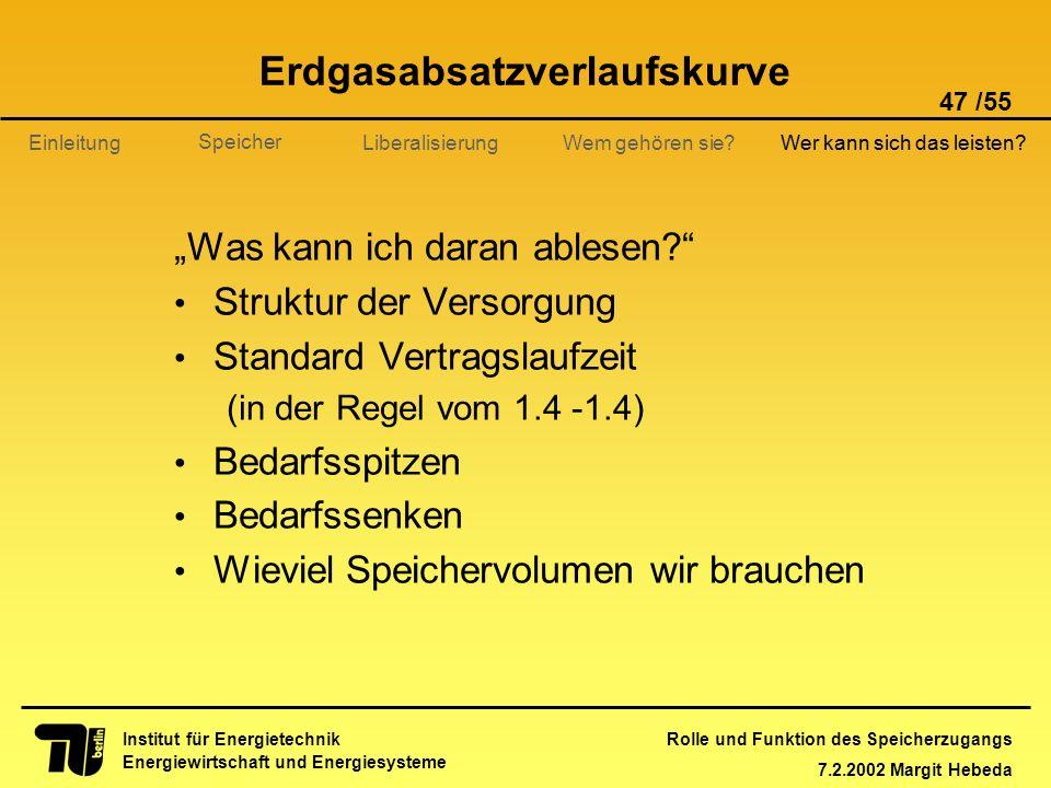 Rolle und Funktion des Speicherzugangs 7.2.2002 Margit Hebeda 47 /55 Institut für Energietechnik Energiewirtschaft und Energiesysteme Einleitung Liber