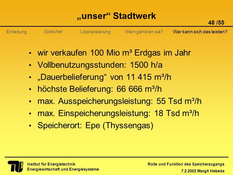 Rolle und Funktion des Speicherzugangs 7.2.2002 Margit Hebeda 48 /55 Institut für Energietechnik Energiewirtschaft und Energiesysteme Einleitung Liber
