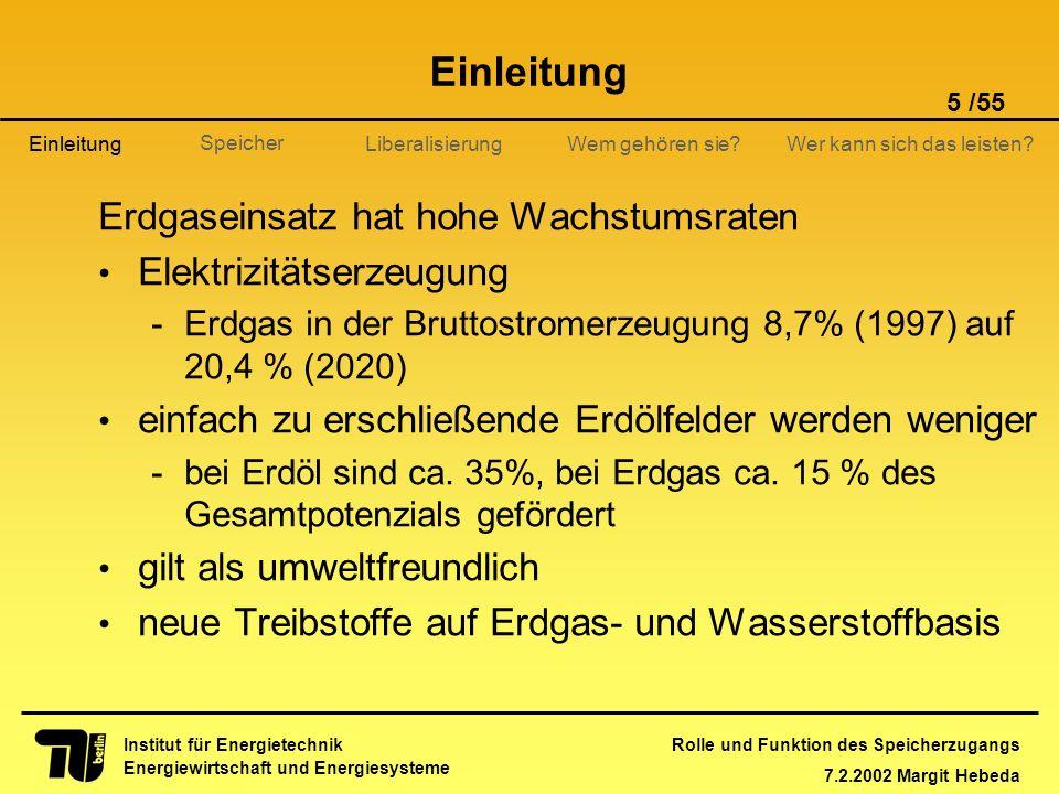 Rolle und Funktion des Speicherzugangs 7.2.2002 Margit Hebeda 5 /55 Institut für Energietechnik Energiewirtschaft und Energiesysteme Einleitung Libera