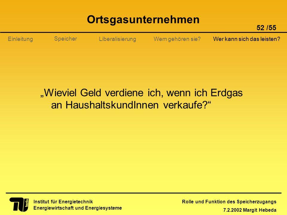 Rolle und Funktion des Speicherzugangs 7.2.2002 Margit Hebeda 52 /55 Institut für Energietechnik Energiewirtschaft und Energiesysteme Einleitung Liber