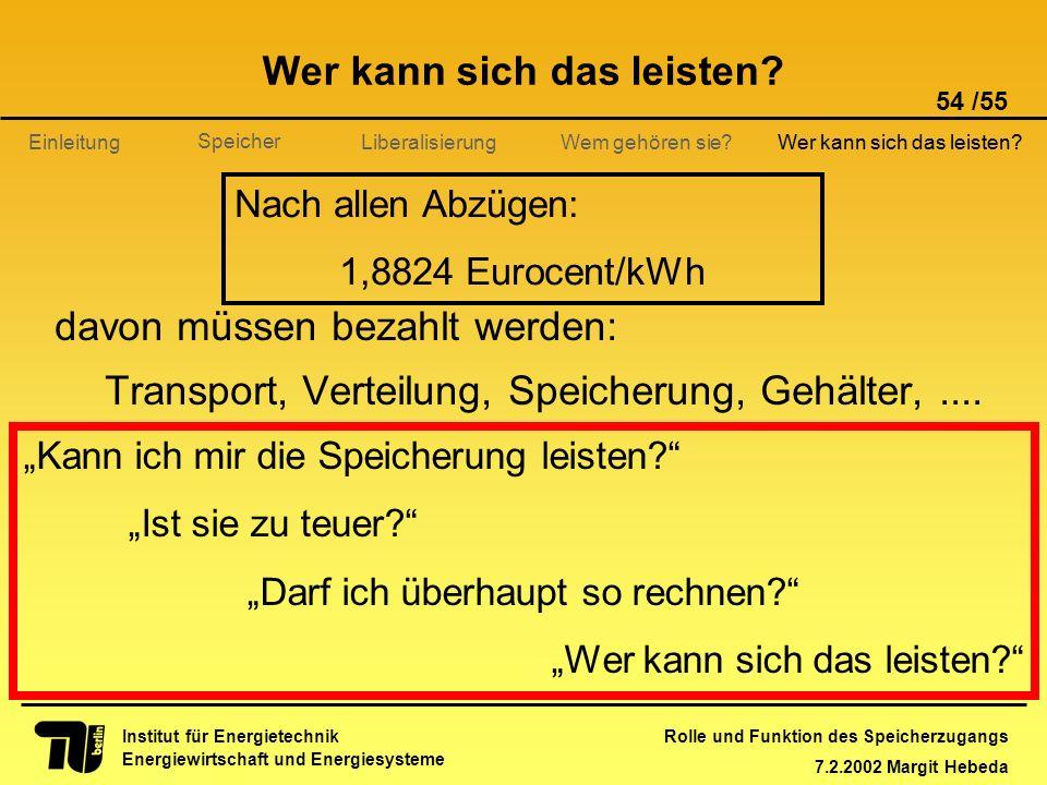 Rolle und Funktion des Speicherzugangs 7.2.2002 Margit Hebeda 54 /55 Institut für Energietechnik Energiewirtschaft und Energiesysteme Einleitung Liber