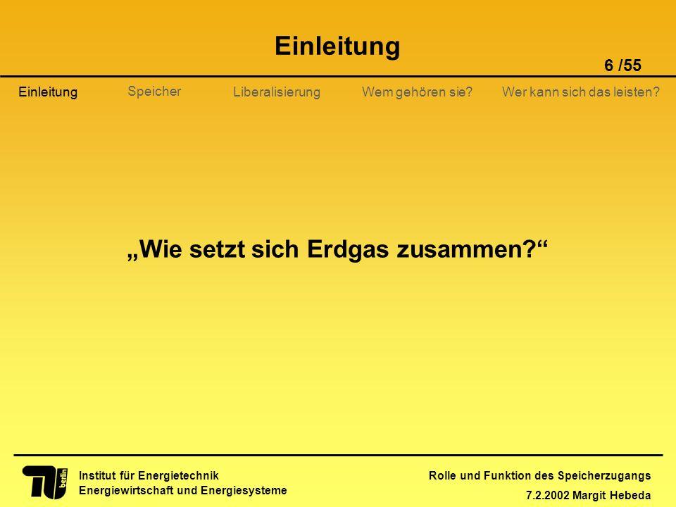 Rolle und Funktion des Speicherzugangs 7.2.2002 Margit Hebeda 6 /55 Institut für Energietechnik Energiewirtschaft und Energiesysteme Einleitung Libera