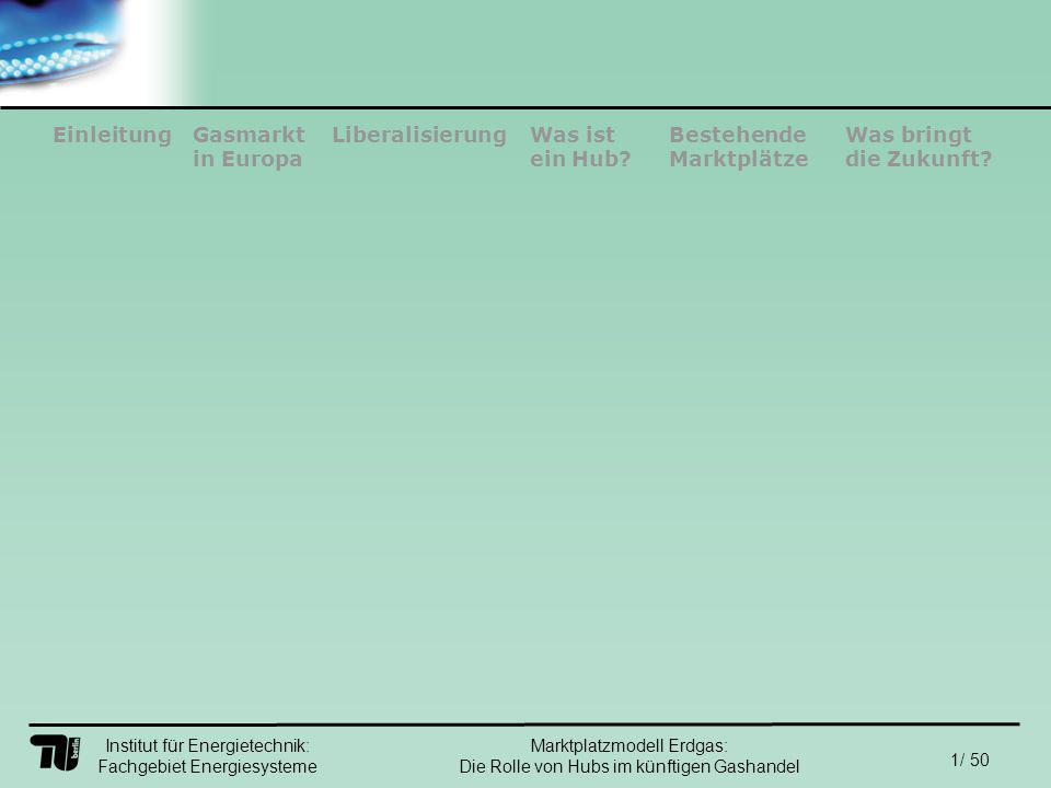Institut für Energietechnik: Fachgebiet Energiesysteme 42/ 50 EinleitungLiberalisierungGasmarkt in Europa Was ist ein Hub.