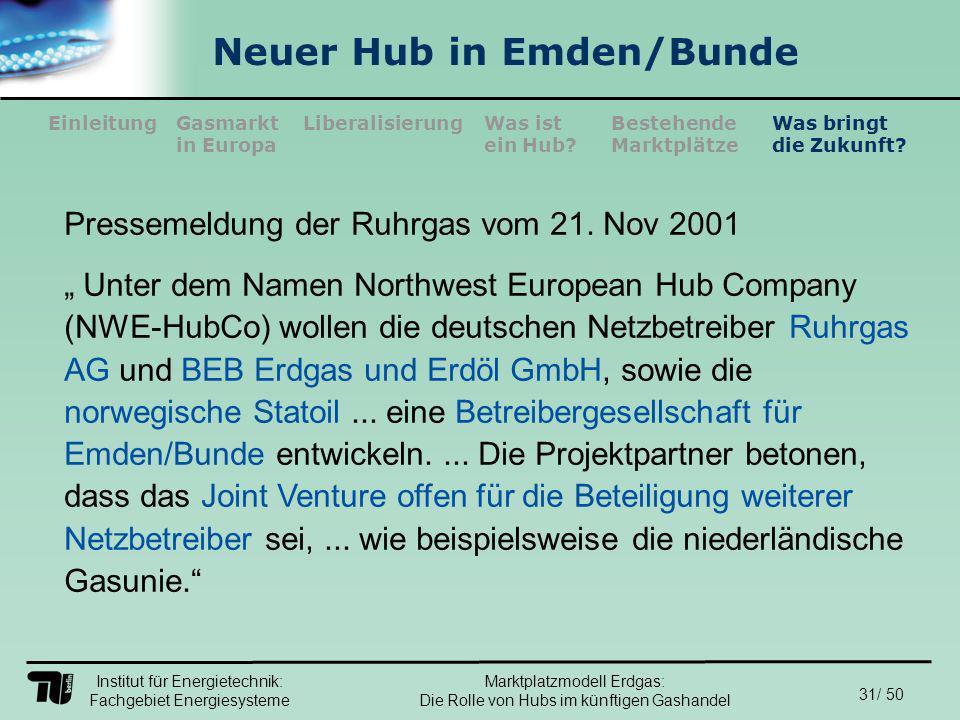 Institut für Energietechnik: Fachgebiet Energiesysteme 31/ 50 EinleitungLiberalisierungGasmarkt in Europa Was ist ein Hub.