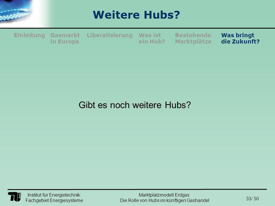 Institut für Energietechnik: Fachgebiet Energiesysteme 33/ 50 EinleitungLiberalisierungGasmarkt in Europa Was ist ein Hub.