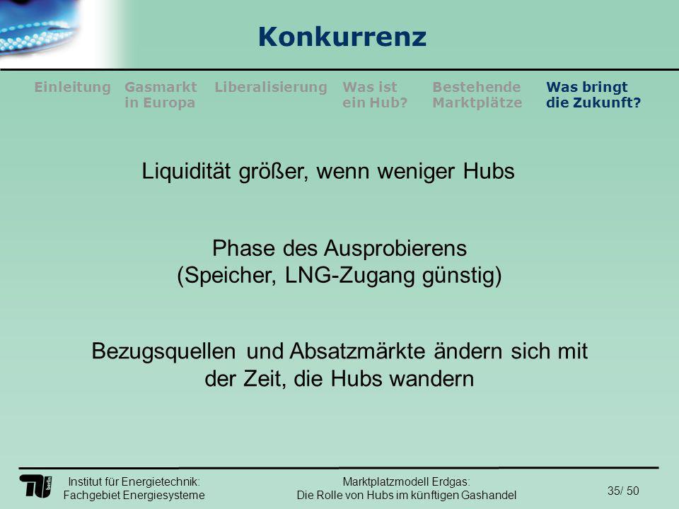 Institut für Energietechnik: Fachgebiet Energiesysteme 35/ 50 EinleitungLiberalisierungGasmarkt in Europa Was ist ein Hub.