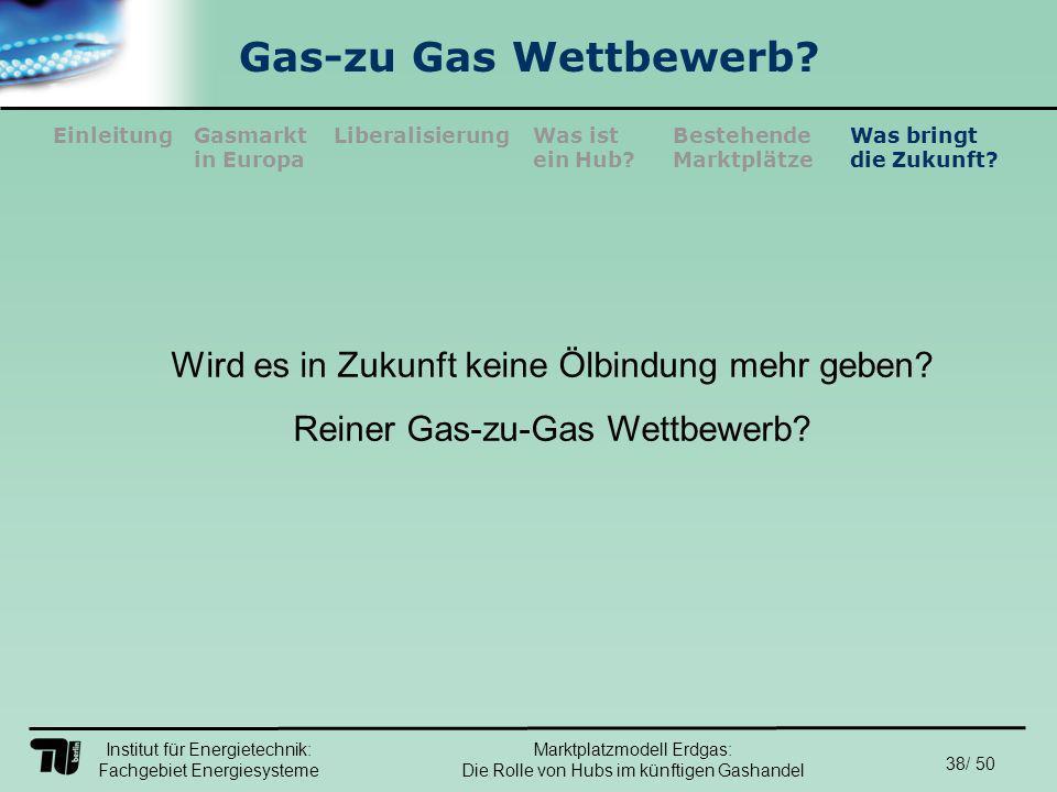 Institut für Energietechnik: Fachgebiet Energiesysteme 38/ 50 EinleitungLiberalisierungGasmarkt in Europa Was ist ein Hub.