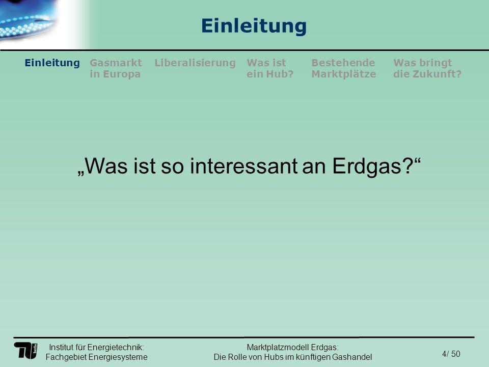 Institut für Energietechnik: Fachgebiet Energiesysteme 15/ 50 EinleitungLiberalisierungGasmarkt in Europa Was ist ein Hub.