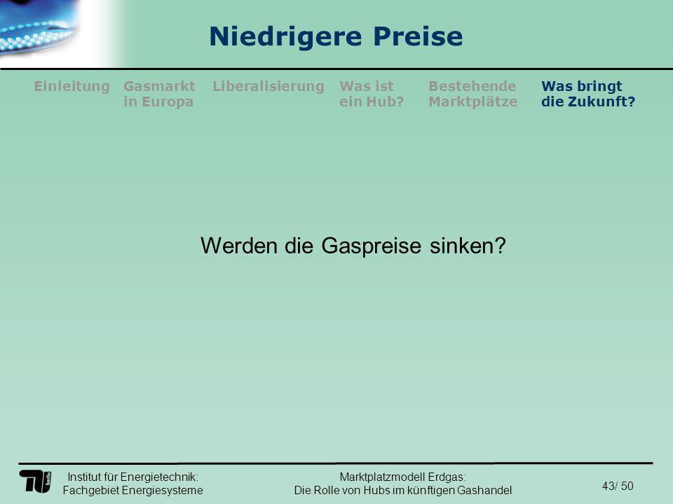Institut für Energietechnik: Fachgebiet Energiesysteme 43/ 50 EinleitungLiberalisierungGasmarkt in Europa Was ist ein Hub.