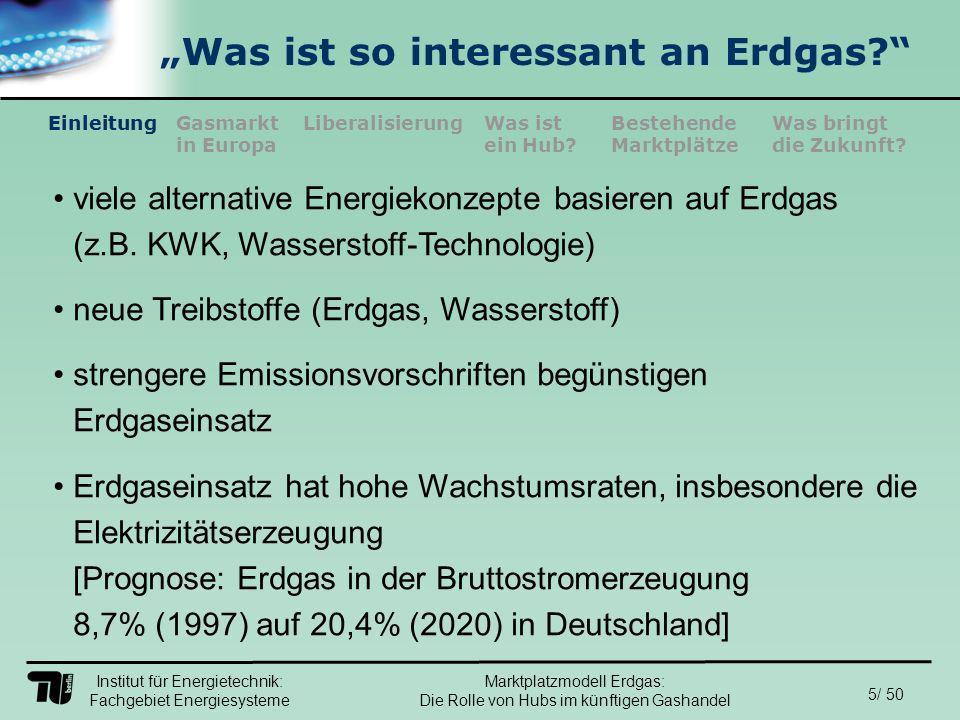 Institut für Energietechnik: Fachgebiet Energiesysteme 36/ 50 EinleitungLiberalisierungGasmarkt in Europa Was ist ein Hub.