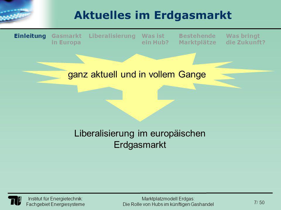 Institut für Energietechnik: Fachgebiet Energiesysteme 18/ 50 EinleitungLiberalisierungGasmarkt in Europa Was ist ein Hub.
