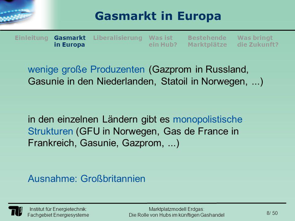 Institut für Energietechnik: Fachgebiet Energiesysteme 29/ 50 EinleitungLiberalisierungGasmarkt in Europa Was ist ein Hub.