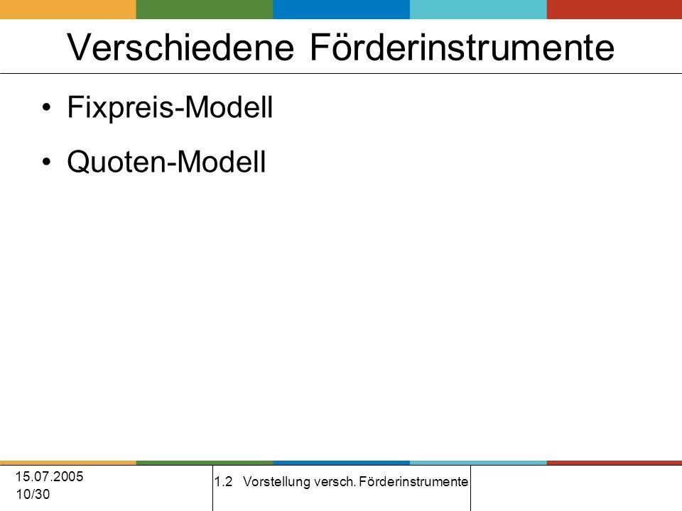 15.07.2005 10/30 Verschiedene Förderinstrumente Fixpreis-Modell Quoten-Modell 1.2 Vorstellung versch.