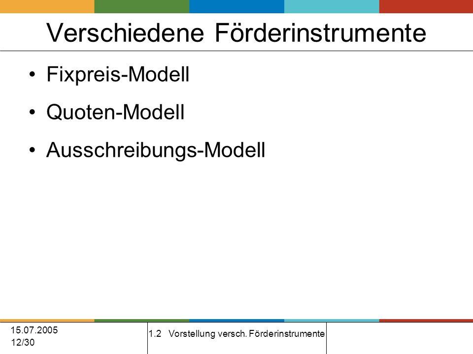 15.07.2005 12/30 Verschiedene Förderinstrumente Fixpreis-Modell Quoten-Modell Ausschreibungs-Modell 1.2 Vorstellung versch.